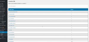 WordPress Plugin TS Comfort Database Tabellenübersicht